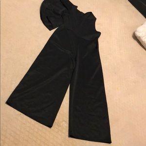 Pants - Black unusual one ruffle sleeve jumpsuit
